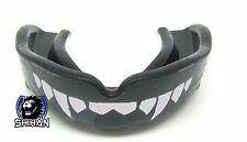 'FANGS' Gum Shield MMA Martial Arts Mouth Guard Teeth Protection BLACK Senior