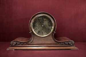 Herschede-Tambour-Mantel-Clock-Carved-Foliage-Case-LARGE-22-Wide