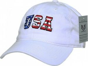 New White USA Baseball Cap with USA Flag Letters Relaxed Fit Type ... 9964580c76d