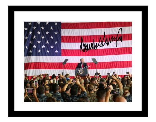 Donald Trump 11x14 Signed Photo US flag background autographed troops president