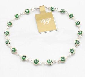 NEW Murano Glass Plumeria Evil Eye Earrings 925 Silver