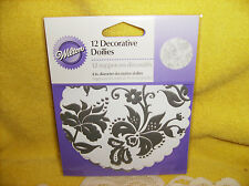 FREE SHIPPING Set/12 Wilton Decorative Silver Design Doilies NEW Wedding Decor