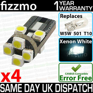 4x-ERROR-FREE-CANBUS-8-SMD-LED-XENON-HID-WHITE-W5W-T10-501-SIDE-LIGHT-BULBS