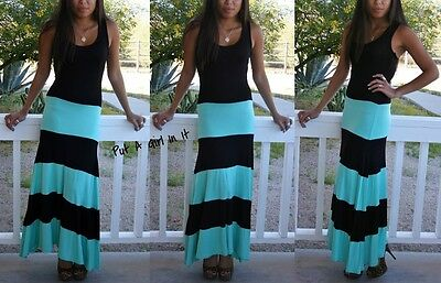 SEXY BLACK MINT GREEN STRIPED BOHEMIAN LONG BISCOT MAXI TANK DRESS BOHO S M L