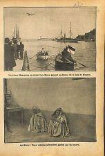 Aviateur André Beaumont avion Blériot Baie de Monaco/Zouave au 1911 ILLUSTRATION