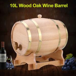 10L-Oak-Barrel-Cask-Wooden-Storage-Wine-Brandy-Whiskey-Dispenser-Keg-W-Stand-US