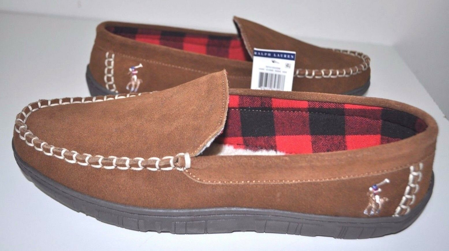 Brand NEW  Polo Ralph Lauren Men's Moccasin Slippers Thick Soles Pony Size 10