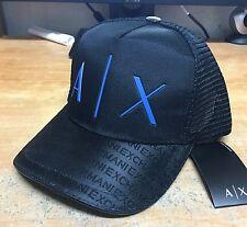 A|X ARMANI EXCHANGE MEN'S BLACK/BLUE AX RUBBER LOGO BASEBALL CAP HAT NWT