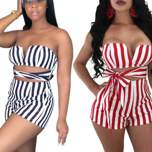 2c7154b0684c Sexy Women Strapless Bandage Striped Short Jumpsuit Romper Summer ...