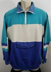 vintage-lineup-tennis-golf-pullover-quarter-zip-jacket-swester-sz-M-988