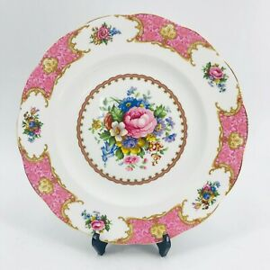Royal-Albert-Pink-LADY-CARLYLE-10-5-034-Dinner-Plate-Bone-China-England-Gold-Gilt
