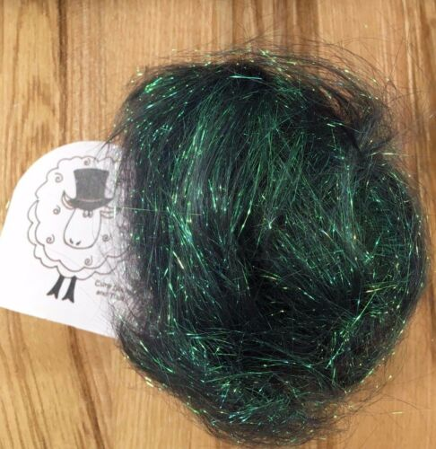 10 g Angelina Fibre Vert Profond Cautionnable fusible//feutrage//Spinning//cardcraft
