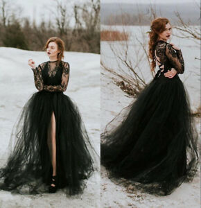 Gothic Wedding Dress.Details About Black Lace Tulle Gothic Wedding Dresses Sexy Sheer Top Slit Skirt Bridal Gowns