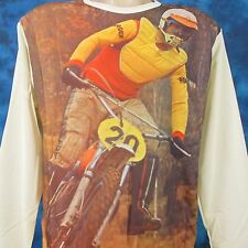 NOS vtg 70s MOTOCROSS PHOTO PRINT L/S T-Shirt M/L motorcycle mx biker jersey 80s