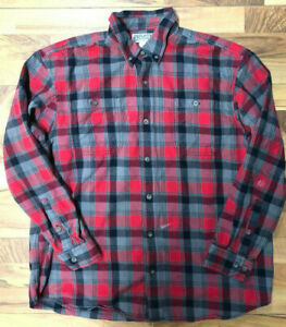 Duluth-Trading-Co-Burley-Flannel-Shirt-Men-039-s-XL-Red-amp-Gray-Plaid-LS-Has-Spots