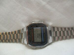Casio Digital Watch Silver Tone Stainless Steel Band Water Resist Alarm Chrono