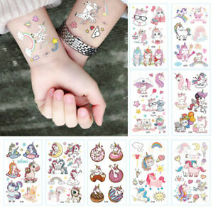 Details about 10SHEET Kids Unicorn Temporary Tattoos Sticker Party Bag  Fillers Boys Girls