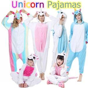 Einhorn-Pyjamas-Kostuem-Jumpsuit-Tier-Schlafanzug-Erwachsene-Unisex-Fasching-Cos