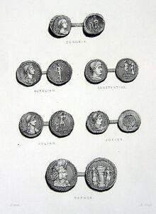 Details about ROMAN EMPIRE COINS ZENOBIA CONSTANTINE JULIAN SAPHOR ~ 1850  Art Print Engraving