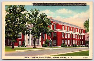 The-Junior-High-School-in-Rocky-Mount-North-Carolina-Linen-Postcard-Unused