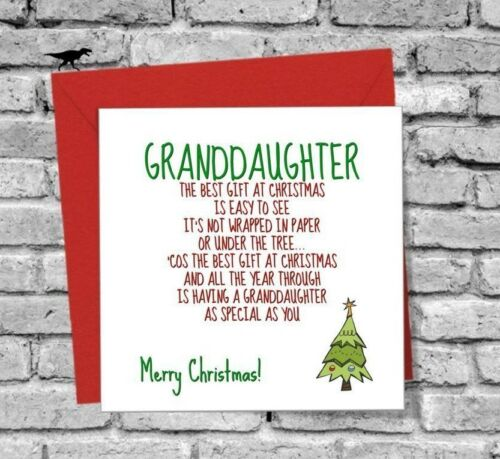 MERRY CHRISTMAS BEST GIFT GREETINGS CARD FUNNY GRANDDAUGHTER LOVE FAMILY TREE
