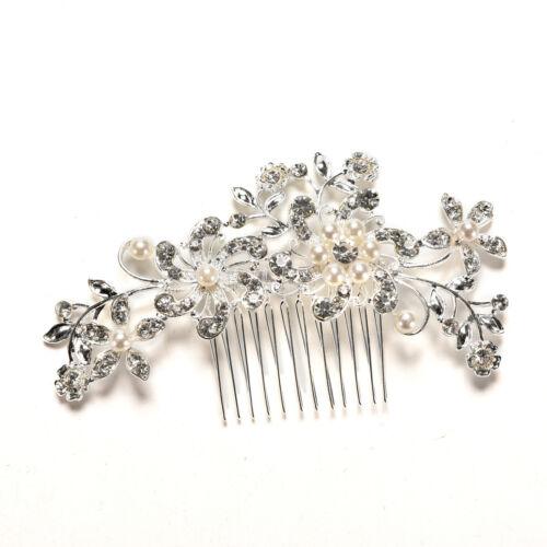 Crystal Rhinestone Wedding Flower Pearls Hair Clip Hair Comb For Women Bride new