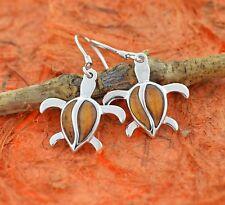 Koa Wood Turtle Earrings- 925 Sterling Silver- Hook Earrings,Dangle,Honu Sea,New
