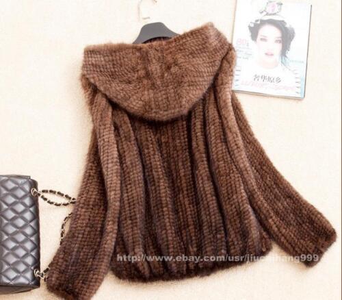 Warm 100 Outwear Vintage Jacket Women Mink Knitted Real Winter Coat Fur rrT8Cq