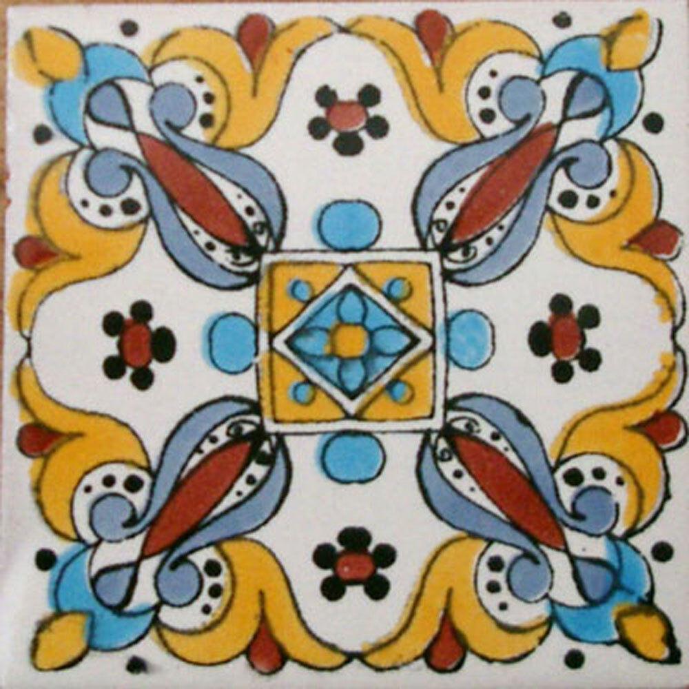 90 MEXICAN CERAMIC TILES WALL OR FLOOR USE CLAY TALAVERA MEXICO POTTERY  C082