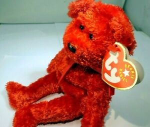 """TY Beanie Babies """"Sizzle"""" USA 8"""" new with tags 2001 Red teddy Bear valentine day"""