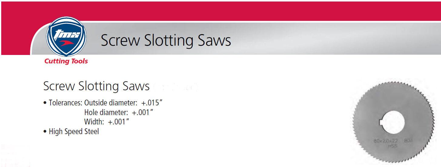 ".064/"" Thick x 2-1//4/"" Diameter x 5//8/"" Arbor Hole 60 Teeth HSS Screw Slotting Saw"