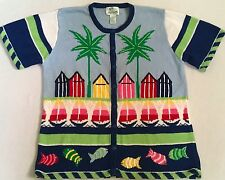 Quacker Factory Women's Beach Vacation Summer Palm Trees Fish SS Sweater Large L