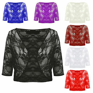 NEW-WOMENS-PLUS-THREE-QUARTER-SLEEVE-LACE-CROP-CARDIGAN-SHRUG-BOLERO-SIZE-16-22