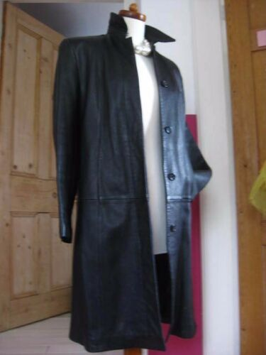 Ladies Uk Trench Black Leather Long amp;s Coat Jacket Real Classic 14 Size Line M 16 rwFvrq