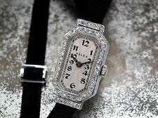1920's Solid 18ct White Gold & Diamond Ladies Vintage Rolex Cocktail Watch