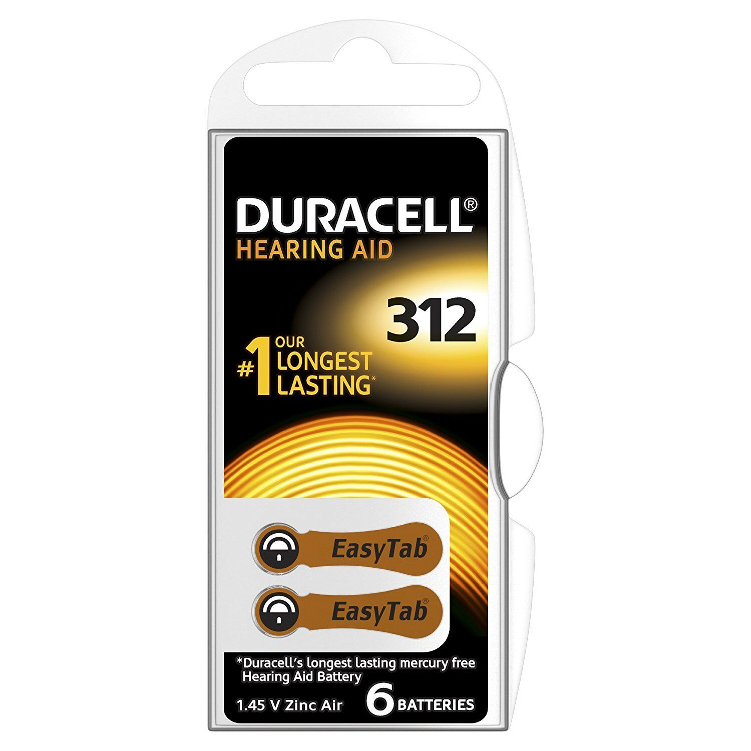 Pack of 60 Duracell Activair Size 312 Brown Hearing Aid Batteries Long expiry