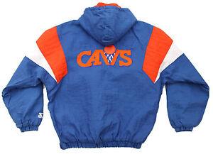 Vtg-90s-STARTER-CLEVELAND-CAVS-Pullover-Jacket-LARGE-Cavaliers-Basketball-NBA