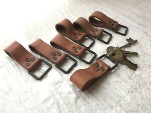 Vintage Leather Key chain 1950/'s European Military Hiking Gear Belt Loop Fob New