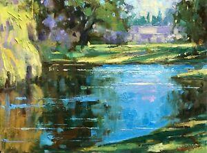 Pond Landscape oil painting original impressionism art by Emiliya Lane 9x12