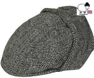 Image is loading Quality-Harris-Tweed-Bugatti-Flat-Cap-with-Ear- d10fdcc9000