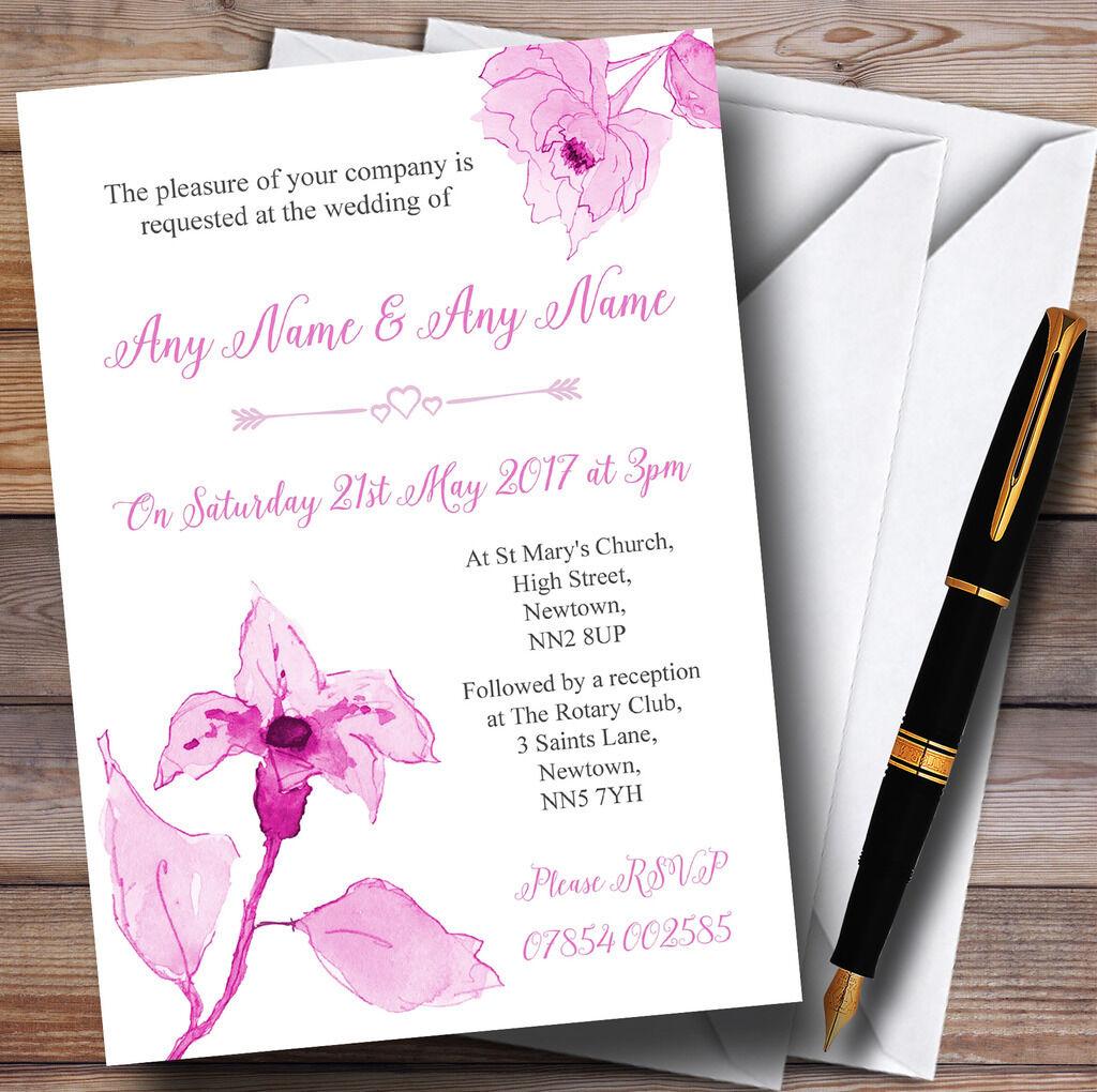 Belle vieux vieux vieux rose rose aquarelle fleurs personnalisé mariage invitations fb655e