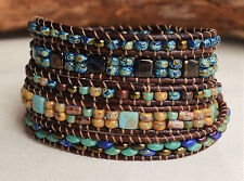 Rustic Picasso Five Wrap Beaded Lether Bracelet Fashion Jewelry By Yevga