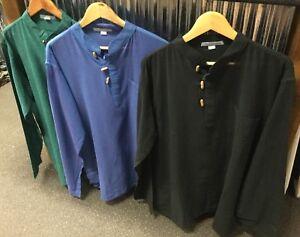 New-Men-s-XL-Cotton-Long-Sleeve-Grandpa-Hippie-Festival-Shirt-Made-in-Nepal