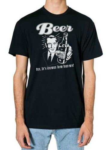 5xl Beer cheaper than therapy drinking comedy T shirt Black sizes small