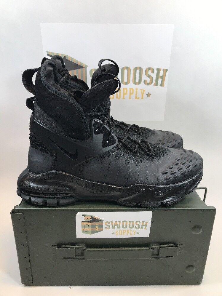 NEW Nike Zoom sizec Flyknit ACG TRIPLE BLACK 865947-001 sz 7.5