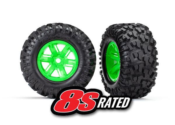 Traxxas 7772G pre-montado Neumáticos & Ruedas (2) (verde) - Maxx X
