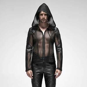 PUNK-RAVE-Dynamic-Mesh-Jacket-Netzjacke-Transparent-Herren-Schwarz-GOTHIC-CYBER