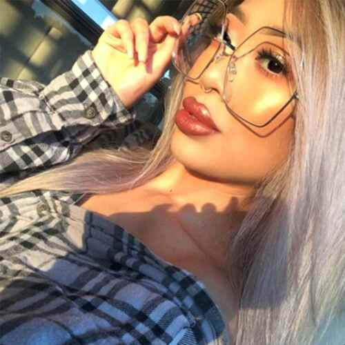 Oversized Women Fashion Eyeglasses Hexagon Gold Metal Frame Clear Lens Glasses