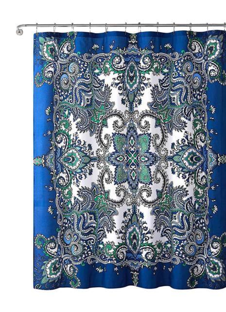 Istanbul Blue Fabric Shower Curtain Floral Mandala Design