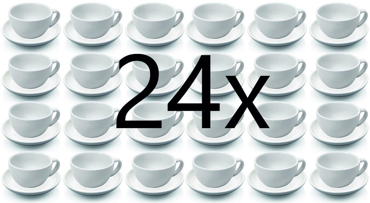 24 Pièces Tasse à Cappuccino et Soucoupe, Tasses Set, Porcelaine 0,28 L